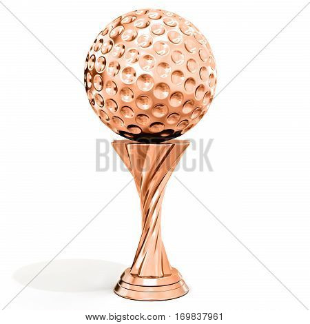 Bronze Trophy With Golf Ball