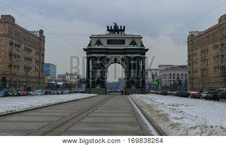 Victory Arch on Kutuzovsky in Moscow , winter