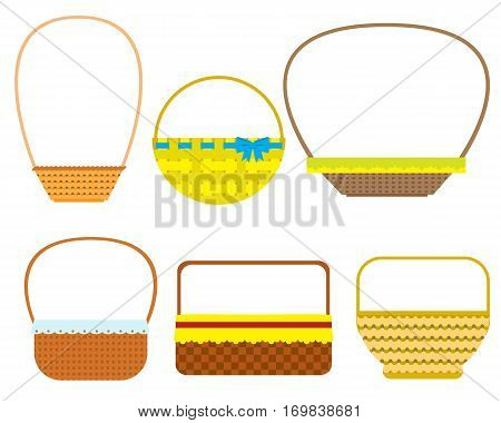 Empty baskets isolated on white background. Osier wicker picnic vector basket set.