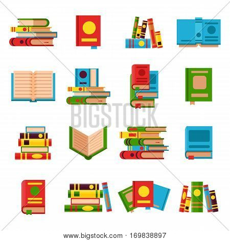 Books set in flat design style vector illustration. Academic books learning symbol, reading school sign. Knowledge collection design isolated science university text books cover information.