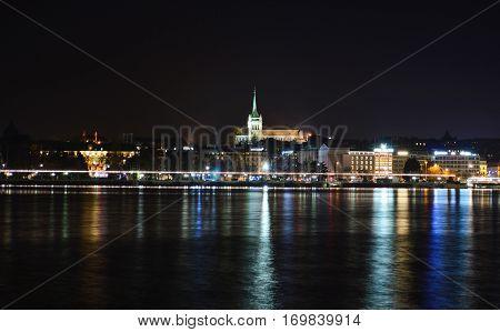 The Geneva Cathedral in the autumn night on lake Geneva lake Geneva Switzerland