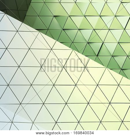 Abstract 3d illustration of modern aluminum ventilated facade of triangles