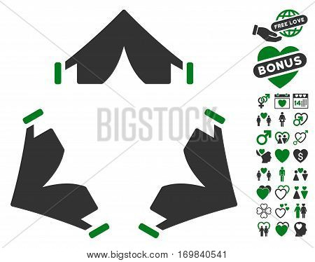 Tent Camp pictograph with bonus decoration pictures. Vector illustration style is flat rounded iconic green and gray symbols on white background.