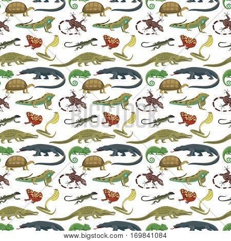 Reptile and amphibian seamless pattern of white background. Colorful fauna illustration snake predator animals. Crocodile silhouette exotic cartoon.
