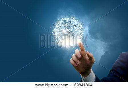 Businessman activates global network concept design illustration banner