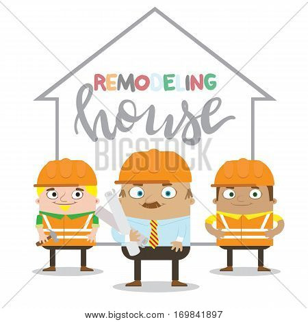 Colorful construction workers in helmets for different house remodeling and building works at construction site. Remodeling house