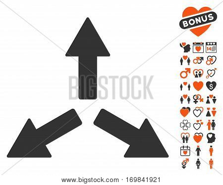 Expand Arrows icon with bonus dating graphic icons. Vector illustration style is flat rounded iconic orange and gray symbols on white background.