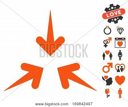Impact Arrows pictograph with bonus romantic clip art. Vector illustration style is flat rounded iconic orange and gray symbols on white background.