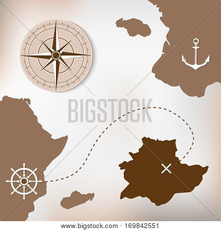 Old treasure paper map with islands. Vector background