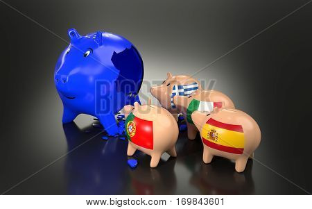 European union economy and finance concept. 3D rendering