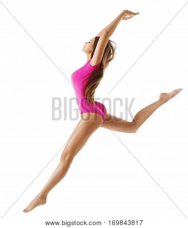 Woman Sport Gymnast Young Girl Dance Jump Isolated over White Slim Sporty Body Pink Leotard