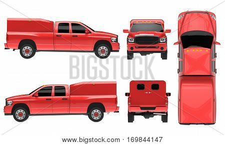 Red pickup truck template isolated car on white background. 3D