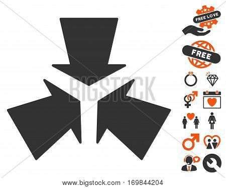 Shrink Arrows pictograph with bonus marriage icon set. Vector illustration style is flat rounded iconic orange and gray symbols on white background.