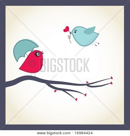 Cute vector card with birds couple