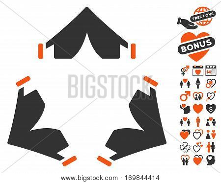 Tent Camp icon with bonus love design elements. Vector illustration style is flat rounded iconic orange and gray symbols on white background.