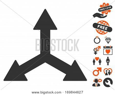 Triple Arrows pictograph with bonus lovely design elements. Vector illustration style is flat rounded iconic orange and gray symbols on white background.
