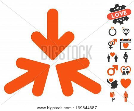Triple Collide Arrows icon with bonus passion images. Vector illustration style is flat rounded iconic orange and gray symbols on white background.