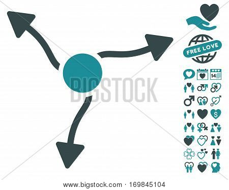 Curve Arrows icon with bonus love images. Vector illustration style is flat rounded iconic soft blue symbols on white background.
