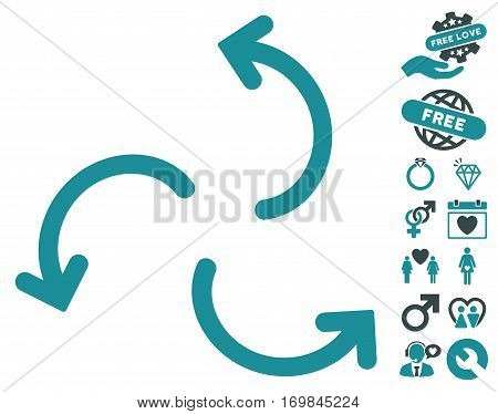 Cyclone Arrows pictograph with bonus dating graphic icons. Vector illustration style is flat rounded iconic soft blue symbols on white background.