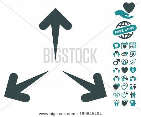 Expand Arrows pictograph with bonus marriage pictures. Vector illustration style is flat rounded iconic soft blue symbols on white background.