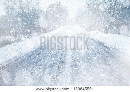 Countryside road during snow storm