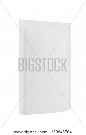 White Blank Foil Food Doy Pack Stand Up Pouch Bag Packaging. Isolated On Background. Mockup Template Ready For Your Design. 3d rendering.
