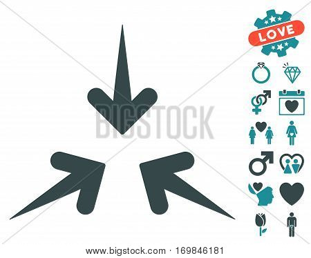 Impact Arrows icon with bonus lovely pictograms. Vector illustration style is flat rounded iconic soft blue symbols on white background.