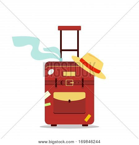 Flat travel bag, scarf and hat isolated on white background - vector stock illustration. Icon logo tourism, vacation summer concept. Suitcase with stickers.
