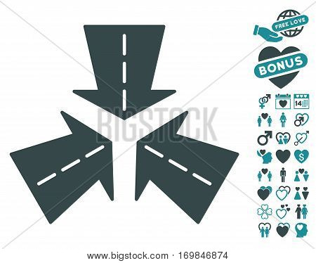 Merge Directions pictograph with bonus dating pictures. Vector illustration style is flat rounded iconic soft blue symbols on white background.