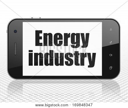 Industry concept: Smartphone with black text Energy Industry on display, 3D rendering