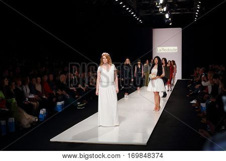 MOSCOW - MAR 25, 2016: Catwalk on XI International Competition of Young Designers Russian Silhouette in Gostiny Dvor during Fashion Week in Moscow