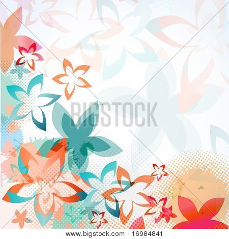 Abstract greeting  card with multicolored flowers