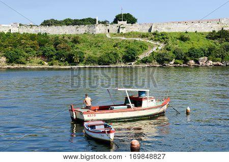 Fisherman On His Boat In The Bay Of Havana