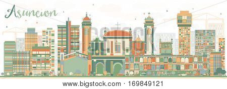 Abstract Asuncion Skyline with Color Buildings. Vector Illustration. Business Travel and Tourism Concept with Modern Architecture. Image for Presentation Banner Placard and Web Site.