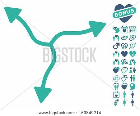 Curve Arrows icon with bonus decorative images. Vector illustration style is flat rounded iconic cobalt and cyan symbols on white background.