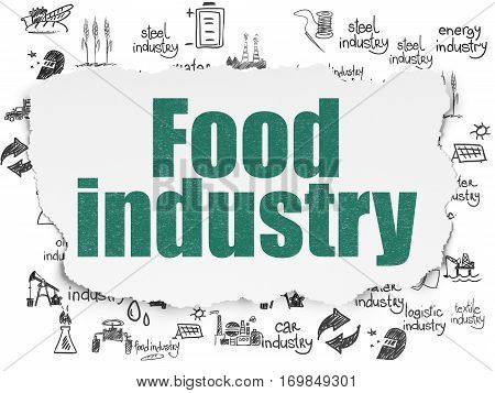 Manufacuring concept: Painted green text Food Industry on Torn Paper background with  Hand Drawn Industry Icons
