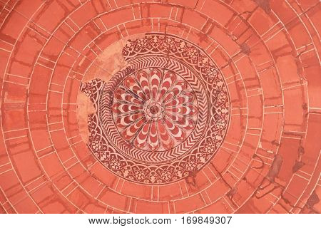 FATEHPUR SIKRI, INDIA - FEBRUARY 15: Pattern on ceiling in Fatehpur Sikri complex, Uttar Pradesh, India on February 15, 2016.