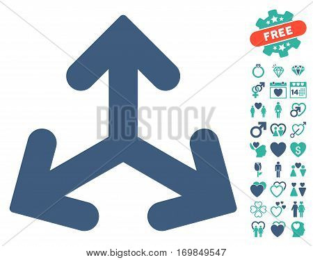 Direction Variants icon with bonus amour images. Vector illustration style is flat rounded iconic cobalt and cyan symbols on white background.