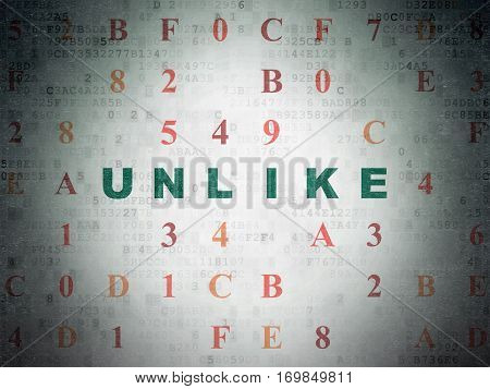 Social media concept: Painted green text Unlike on Digital Data Paper background with Hexadecimal Code
