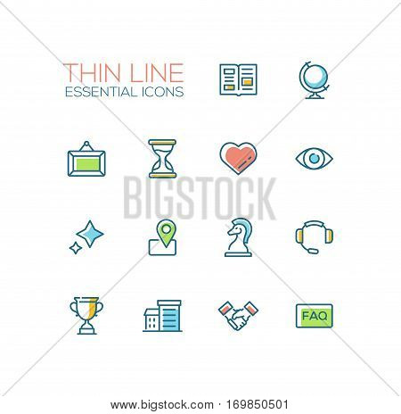 Business Essential - modern vector simple thin line design icons and pictograms set with accent color. Newspaper, globe, picture, hourglass, heart, eye, stars, location, chess piece, headset, cup building handshake faq. Material design concept symbols