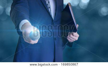 Businessman gives a microphone concept design illustration
