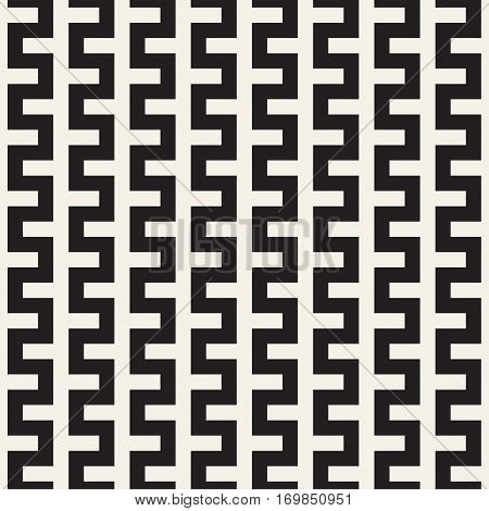Trendy monochrome Line Lattice. Abstract Geometric Background Design. Vector Seamless Black and White Pattern.
