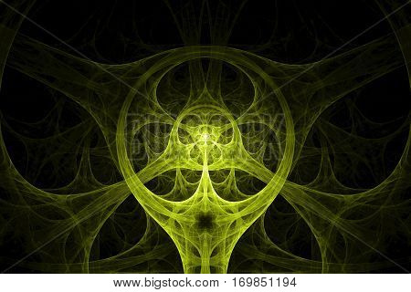 Yellow circular spike shape design. Abstract background. Isolated on black background.
