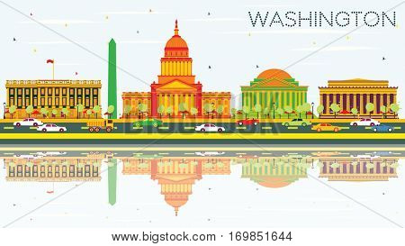 Washington DC Skyline with Color Buildings, Blue Sky and Reflections. Business Travel and Tourism Concept with Historic Architecture. Image for Presentation Banner Placard and Web Site.