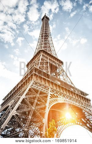 Eiffel tower in Paris on blue sky background wide angle