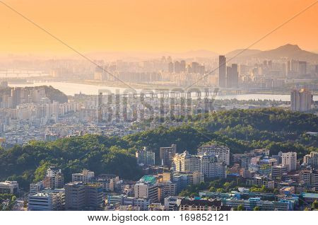 Seoul City And Han River In Sunset, South Korea.