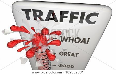 Traffic Thermometer Measure Audience Great Visitors 3d Illustration