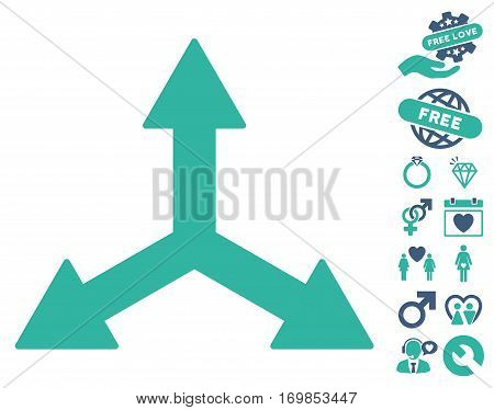 Triple Arrows icon with bonus romantic symbols. Vector illustration style is flat rounded iconic cobalt and cyan symbols on white background.