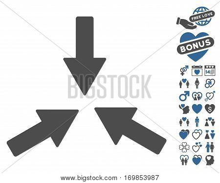 Collide 3 Arrows pictograph with bonus valentine pictograms. Vector illustration style is flat rounded iconic cobalt and gray symbols on white background.