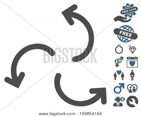 Cyclone Arrows pictograph with bonus romantic graphic icons. Vector illustration style is flat rounded iconic cobalt and gray symbols on white background.
